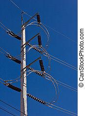 ciel bleu, élevé, poteau électricité, tension