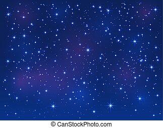 ciel bleu, étoiles, fond