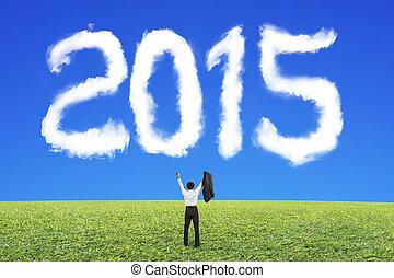 ciel bleu, applaudissement, forme, 2015, homme affaires, herbe, nuage