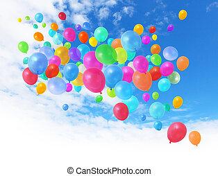 ciel bleu, ballons, coloré