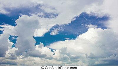 ciel bleu, blanc, timelapse couvre