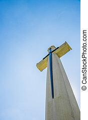 ciel bleu, clair, chrétien, croix