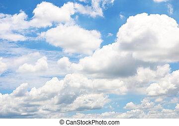 ciel bleu, clair, nuages, blanc