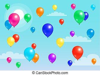 ciel bleu, coloré, balloon, voler, caoutchouc, ballons
