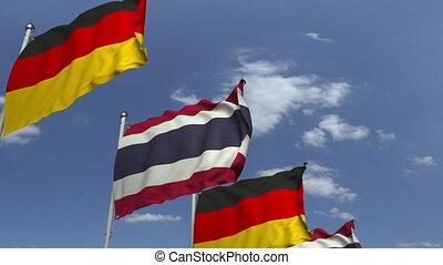 ciel bleu, contre, animation, drapeaux, loopable, thaïlande, allemagne, 3d