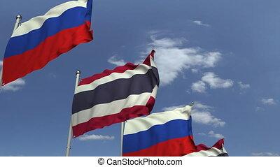 ciel bleu, contre, animation, drapeaux, loopable, thaïlande, russie, 3d