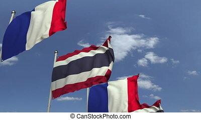 ciel bleu, contre, france, animation, drapeaux, loopable, thaïlande, 3d