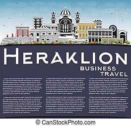 ciel bleu, copie, horizon, grèce, heraklion, space., crète, bâtiments, couleur ville