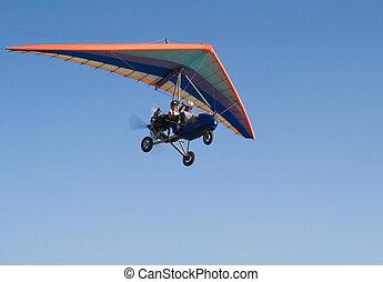 ciel bleu, deltaplane, vol, extrême