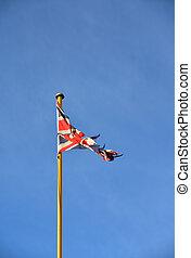 ciel bleu, drapeau, royaume-uni, contre, clair, weatherbeaten, union, lambeaux