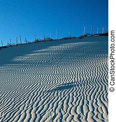 ciel bleu, dune sable, motifs, clair, plage, vent