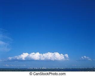 ciel bleu, et, blanc, clouds.
