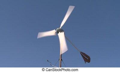 ciel bleu, fond, petit, turbine, vent