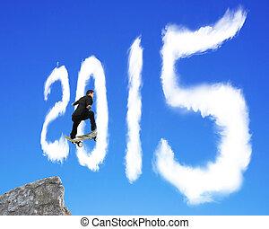 ciel bleu, forme, par, skateboarding, 2015, homme affaires, dépassement, nuage