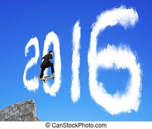 ciel bleu, forme, par, skateboarding, homme affaires, dépassement, 2016, nuage