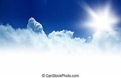 ciel bleu, frontière, fond