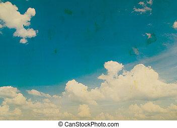 ciel bleu, grunge, fond