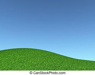 ciel bleu, herbeux, colline