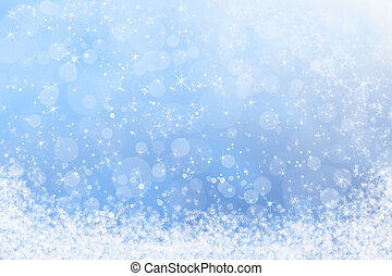 ciel bleu, hiver, neige, sparkly