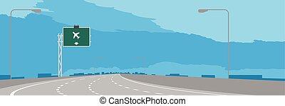 ciel bleu, isolé, illustration, signe, autoroute, aéroport, vert, journée, fond, signage, ou, autoroute, coude