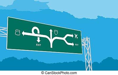 ciel bleu, isolé, journée, autoroute, vert, illustration, fond, signage, ou, autoroute