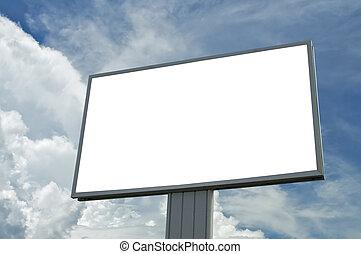 ciel bleu, juste, texte, sur, nuageux, ajouter, vide, panneau affichage, ton