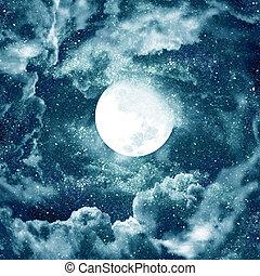 ciel bleu, lune