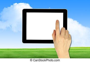ciel bleu, main postérieure, touchpad, tenue, mâle, terrestre