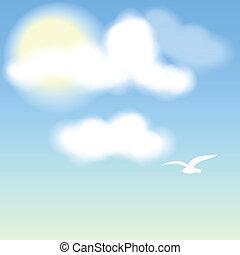 ciel bleu, nuages blancs, oiseau