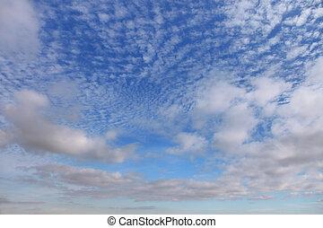 ciel bleu, nuages, cirrus, contre