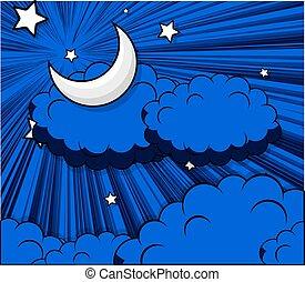 ciel bleu, nuages, clair lune