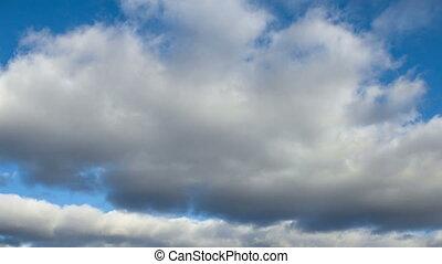 ciel bleu, nuages, gris