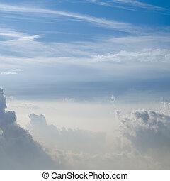 ciel bleu, nuages