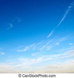 ciel bleu, nuages, lumière