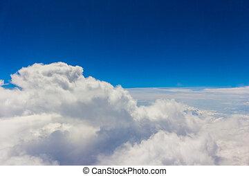ciel bleu, nuages, pelucheux, blanc
