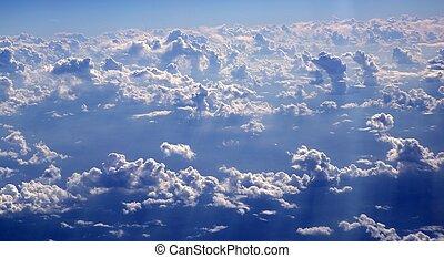 ciel bleu, nuages, vue, depuis, aircarft, avion