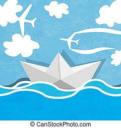 ciel bleu, nuageux, océan, papier, fond, planes., bateau