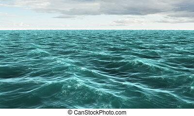 ciel bleu, nuageux, océan, sous, agité