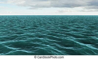 ciel bleu, nuageux, océan, sous, encore