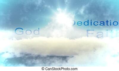 ciel bleu, nuageux