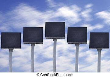 ciel bleu, panneau affichage, mené, groupe
