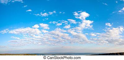 ciel bleu, panorama., matin