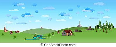 ciel bleu, paysage, nature