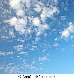 ciel bleu, pelucheux, nuages, blanc