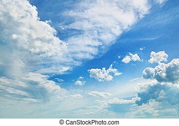ciel bleu, pelucheux, nuages