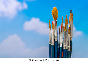ciel bleu, pinceau