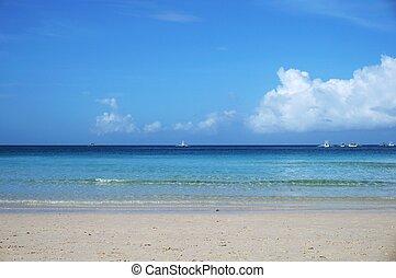 ciel bleu, plage, calme