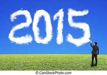 ciel bleu, pulvérisation, forme, 2015, homme affaires, blanc, herbe, nuage