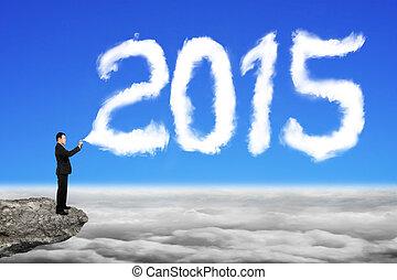 ciel bleu, pulvérisation, forme, cloudscap, année, 2015, homme affaires, nuage