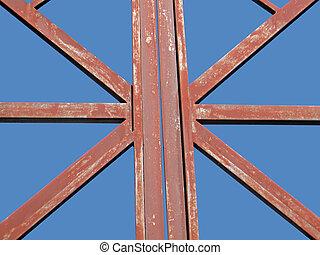 ciel bleu, résumé, objet, métal, texture, métallique